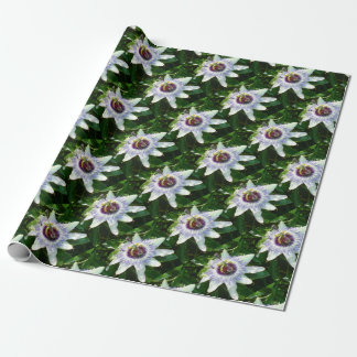 Beautiful Passion Flower With Garden Background Wrapping Paper