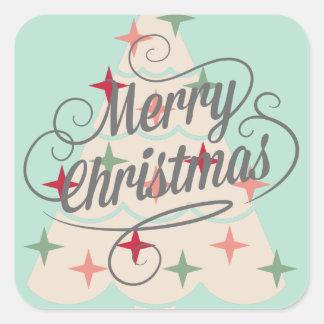 Beautiful Pastel Color Christmas Tree Square Sticker