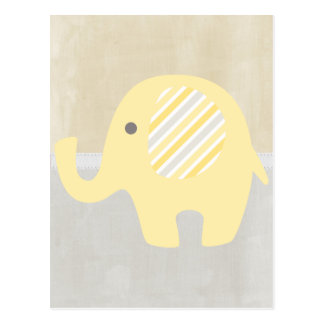 Beautiful Pastel Yellow Baby Neutral Elephant Postcard