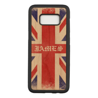 Beautiful Patriotic Monogram Rustic Union Jack Carved Samsung Galaxy S8 Case