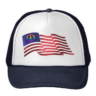 Beautiful Patriotic Peace Symbol American Flag Mesh Hats