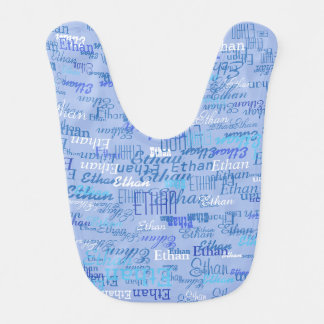 beautiful pattern of boy names in blue bibs