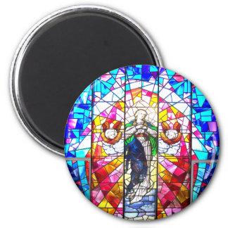 Beautiful Peaceful Colorful painted glass Angels 6 Cm Round Magnet