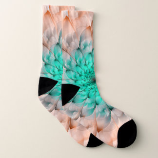 Beautiful Peach Blossom Turquoise Fractal Flower 1