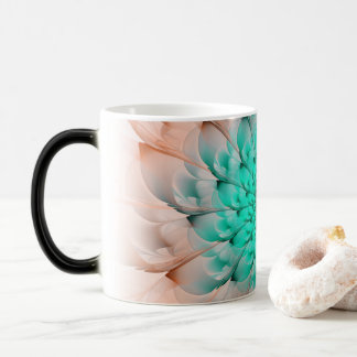 Beautiful Peach Blossom Turquoise Fractal Flower Magic Mug