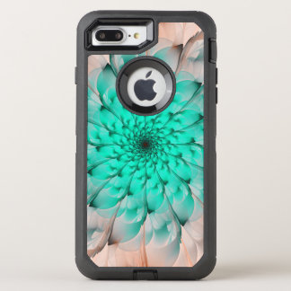 Beautiful Peach Blossom Turquoise Fractal Flower OtterBox Defender iPhone 8 Plus/7 Plus Case