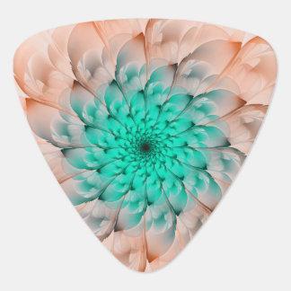 Beautiful Peach Blossom Turquoise Fractal Flower Plectrum