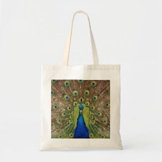 Beautiful peacock and feathers print on tote bag