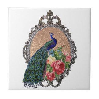 Beautiful peacock art, personalized ceramic tile