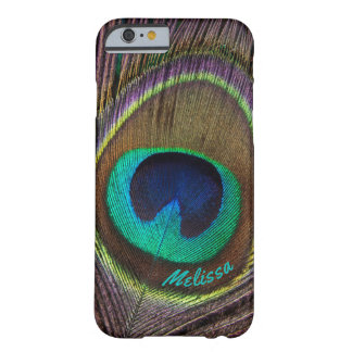 Beautiful Peacock Feather Eye, Your Name Barely There iPhone 6 Case