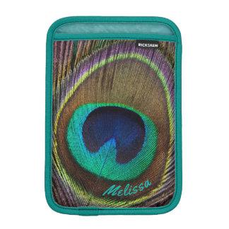 Beautiful Peacock Feather Eye, Your Name iPad Mini Sleeve