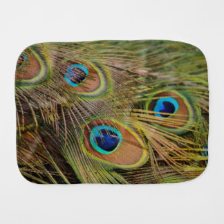 Beautiful Peacock Feathers Baby Burp Cloth