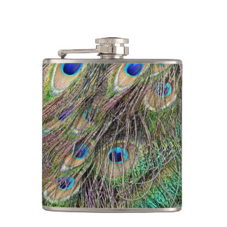 Beautiful Peacock Feathers Hip Flask