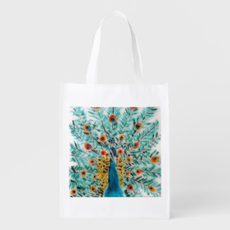 Beautiful Peacock Reusable Grocery Bag