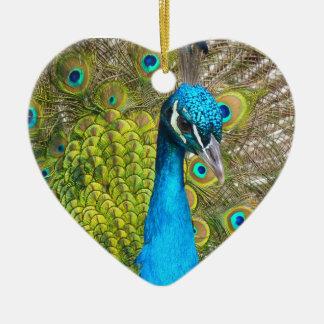 Beautiful Peacock Stunning Green Bird Ceramic Heart Decoration