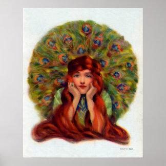 Beautiful Peacock Woman Vintage Poster