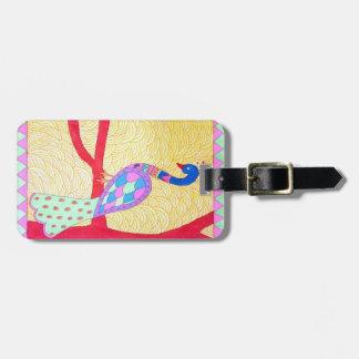 beautiful peacocok luggage tag