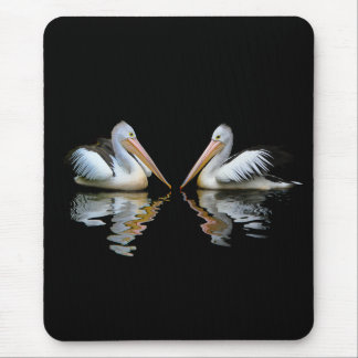 Beautiful pelicans reflection on black background mouse pad