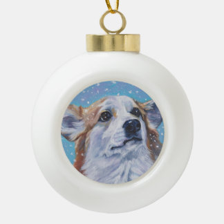 Beautiful Pembroke Welsh Corgi Fine Art Ceramic Ball Christmas Ornament
