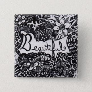 Beautiful Pen 15 Cm Square Badge
