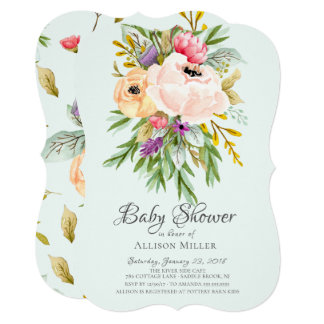Beautiful Peonies Floral Baby Shower Invitations