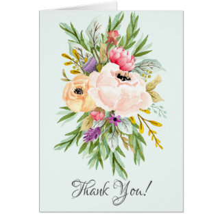 Beautiful Peonies Floral Bridal Shower Thank You Card