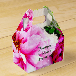 Beautiful Peonies Wedding Gable Favor Box Favour Boxes