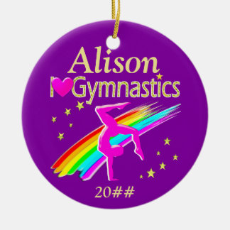 BEAUTIFUL PERSONALIZED AND DATED GYMNAST ORNAMENT