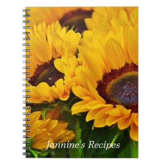 Beautiful Personalized Yellow Orange Sunflower Spiral Notebook