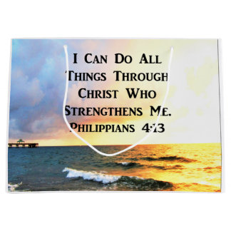 BEAUTIFUL PHILIPPIANS 4:13 SCRIPTURE PHOTO LARGE GIFT BAG