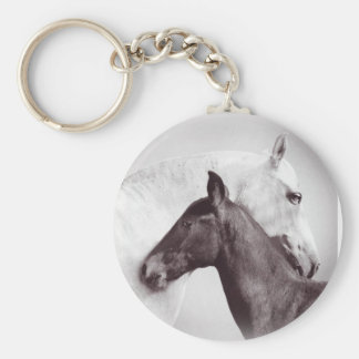 Beautiful Photo of white mare with black foal Key Chain