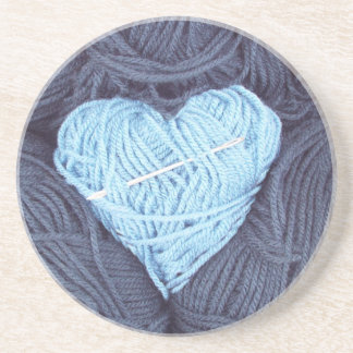 Beautiful photograph of blue wool heart coaster