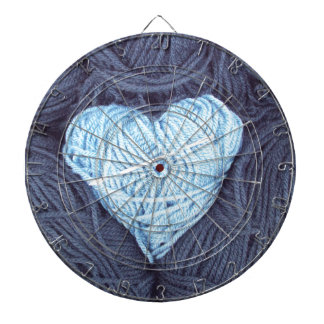 Beautiful photograph of blue wool heart dartboard