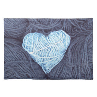 Beautiful photograph of blue wool heart placemat