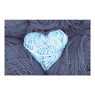 Beautiful photograph of blue wool heart stationery
