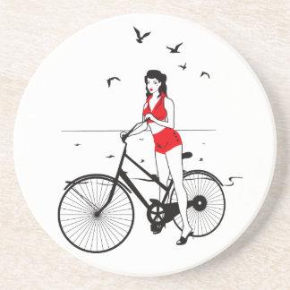 Beautiful pin-up girl on bicycle. Elegant stylish Drink Coaster