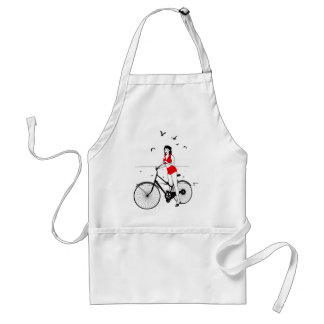 Beautiful pin-up girl on bicycle. Elegant stylish Standard Apron