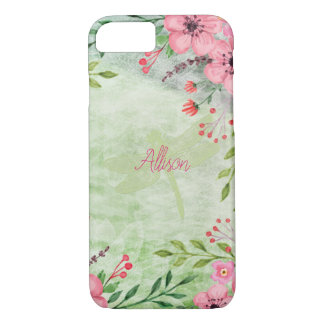 Beautiful Pink And Green Dragonfly And Flower iPhone 8/7 Case