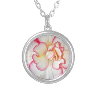 Beautiful pink and white begonia flower round pendant necklace