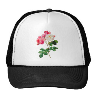 Beautiful Pink and White Roses by Redoute Mesh Hat