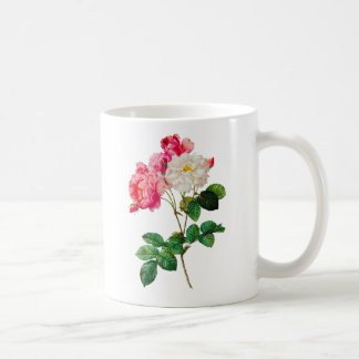 Beautiful Pink and White Roses by Redoute Coffee Mug
