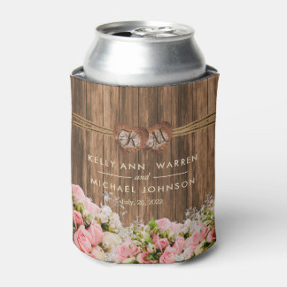 Beautiful Pink and White Roses on Wood Can Cooler