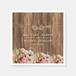 Beautiful Pink and White Roses on Wood Disposable Napkin