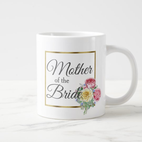 Beautiful Pink and Yellow Floral Mother Bride Large Coffee Mug