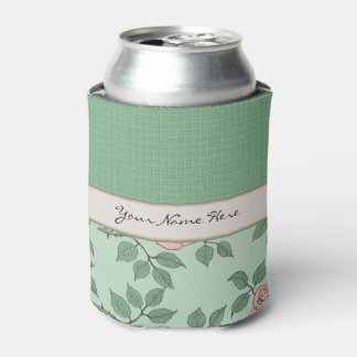 Beautiful Pink and Yellow Flowers on Green Pattern Can Cooler