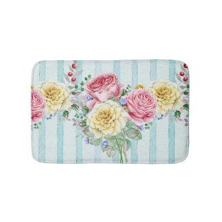 Beautiful Pink And Yellow Roses Bath Mat