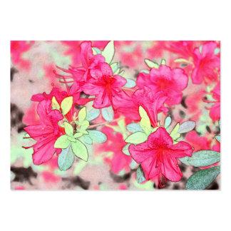 Beautiful pink art style azalea flowers blank business card template