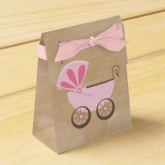 Beautiful Pink Baby Carriage Baby Shower Favour Box