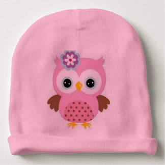 Beautiful Pink Baby Cotton Beanie Owl Picture Baby Beanie