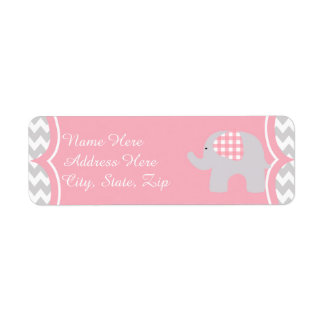 Beautiful Pink Baby Shower Adorable Elephant Return Address Label